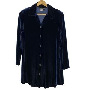 Vintage Olian Velvet Maternity Button Front Tunic